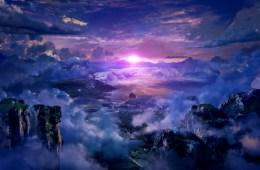 A dark cloudy sky with a pink, bleeding gem of a star peeking through in Tales of Zestiria