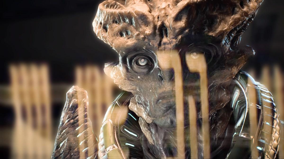 A crustacean-looking alien face in Andromeda