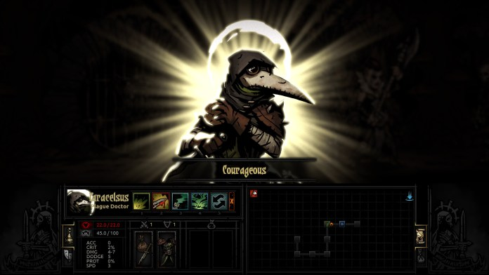 "A screenshot from Darkest Dungeon showing the Plague Doctor as she powers up with the ""Courageous"" quirk."