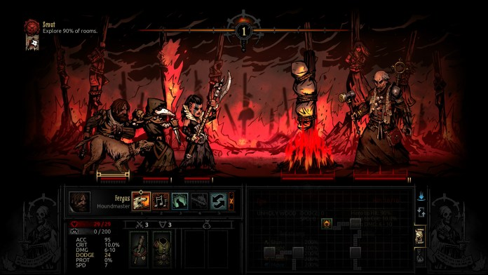 A screeenshot from Darkest Dungeon: The Crimson Court. A party of heroes battles the Fanatic.