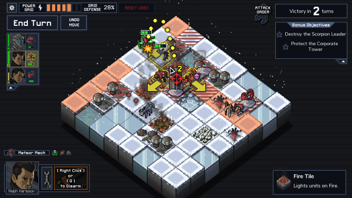 A gameplay screenshot of Into the Breach. A player mech prepares to make an artillery attack.