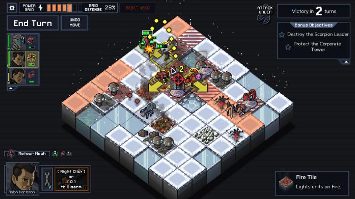 A gameplay screenshot of Into the Breach. A player mech prepares to make an artillery attack.