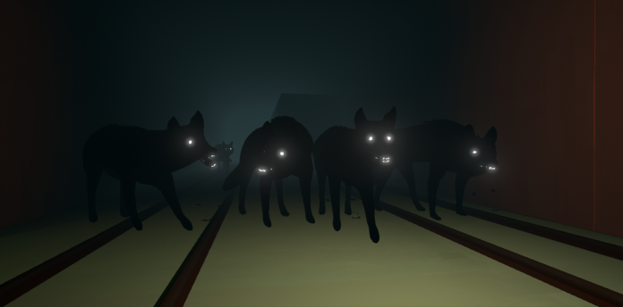 A screenshot from Way to the Woods showing a pack of black dogs with glowing white eyes and teeth.