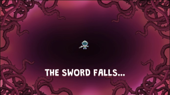 "A screenshot from The Swords of Ditto, featuring the game over screen. The player is shown on the ground, with a pinkish mist and vines closing in around the. Large white text at the bottom of the screen reads, ""The Sword Falls..."""