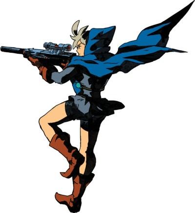 Young woman in a blue hood with a blaster weapon.