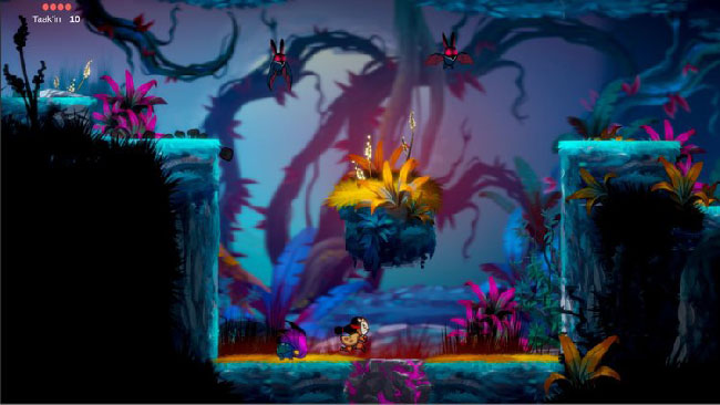 "Screenshot of  ""Balam and the Spirit Within"" gameplay. Balam, girl in jaguar mask, is in a dark forest, with bats flying around her."