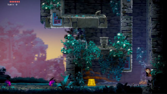 "Screenshot of  ""Balam and the Spirit Within"" gameplay. Balam, girl in jaguar mask, begins to climb a stone wall."