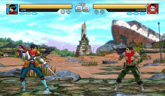 Screenshot of gameplay, where two playable characters face off against each other on a battle stage with ruins and a shipwreck in the background.
