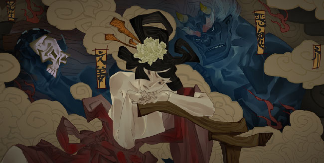 "Stylized illustration of ""Bladed Fury."" Features dark-haired woman with a blue, horned humanoid creature holding a skull."