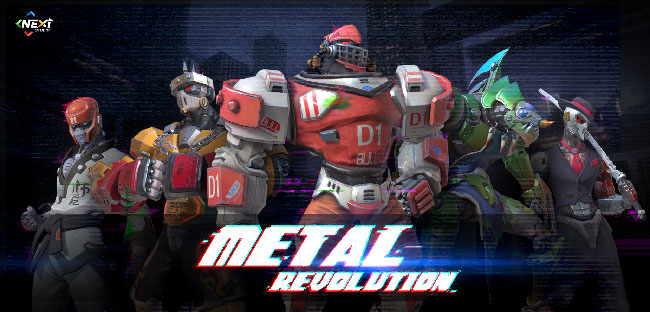 "Five various robot characters lined up from ""Metal Revolution."""