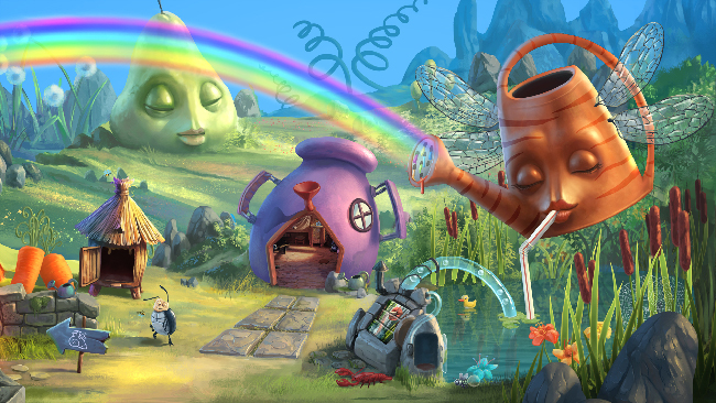 "Colorful and intricate ""My Brother Rabbit"" screenshot, of a green grassy field with a rainbow squirting out of a flying watering can."