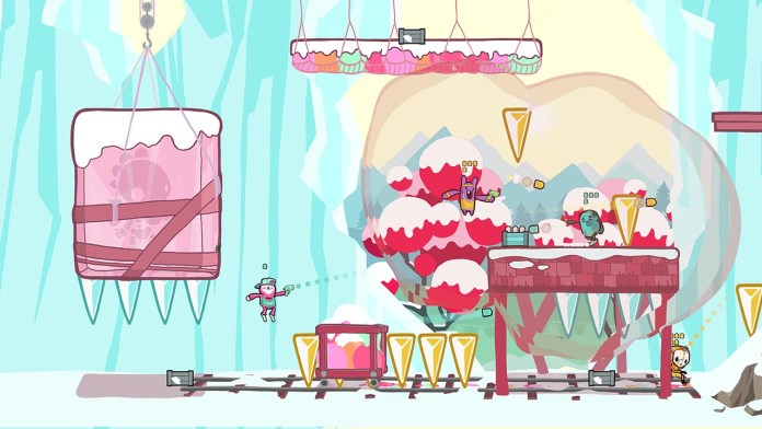 """""""Retimed"""" screenshot of four colorful characters shooting at each other in an icy cave with falling icicles."""