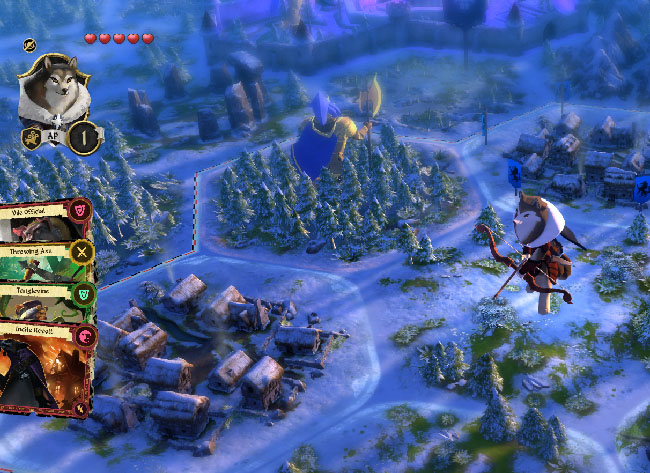 "Partial screenshot of ""Armello"" gameplay, showing an anthropomorphic wolf archer on snowy terrain. On the side of the screenshot is a deck of cards poking out."