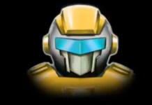 Illustration of a yellow robot's head and shoulders on a black background.