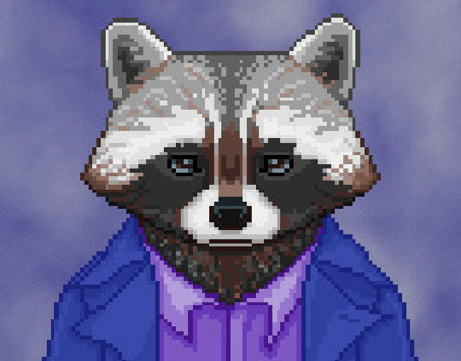 "Screenshot of ""The Raccoon Who Lost Their Shape."" Done in pixel art. Anthropomorphic raccoon wearing casual clothes."