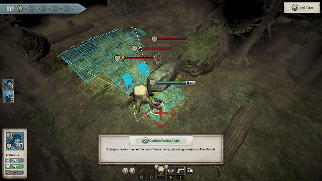 """Achtung! Cthulhu Tactics"" screenshot showing the squad fighting enemies in a forest."