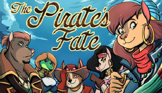 "Promo illustration of ""The Pirate's Fate,"" featuring five different anthropomorphic characters."