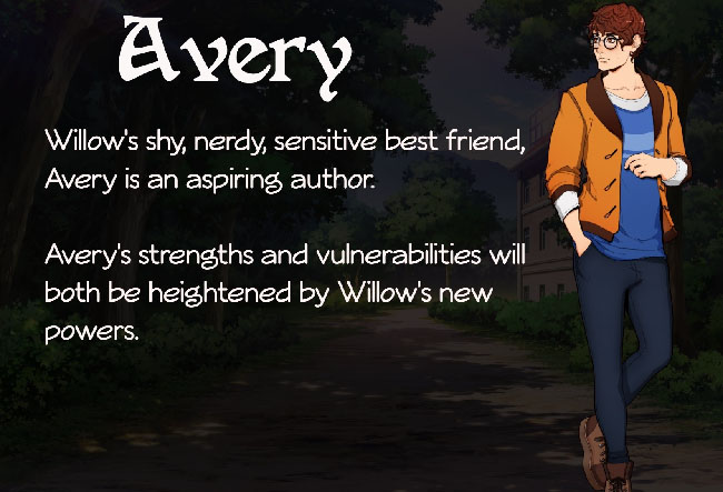 """Wicked Willow"" character illustration of a young man with short, dark brown hair. He's wearing an orange jacket, blue shirt, and dark blue jeans."