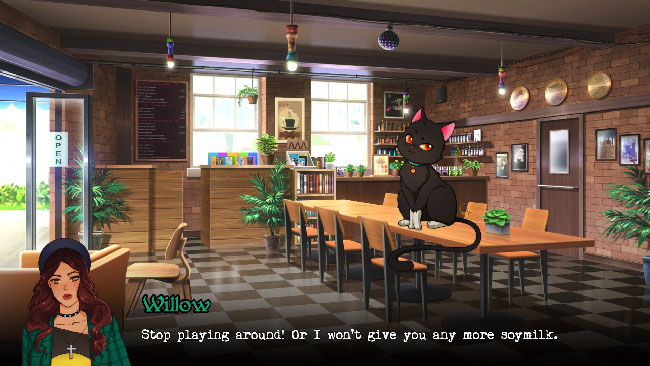 """Wicked Willow"" screenshot with Willow—a young woman—and Shadow—a black cat—in what looks like a cafe."