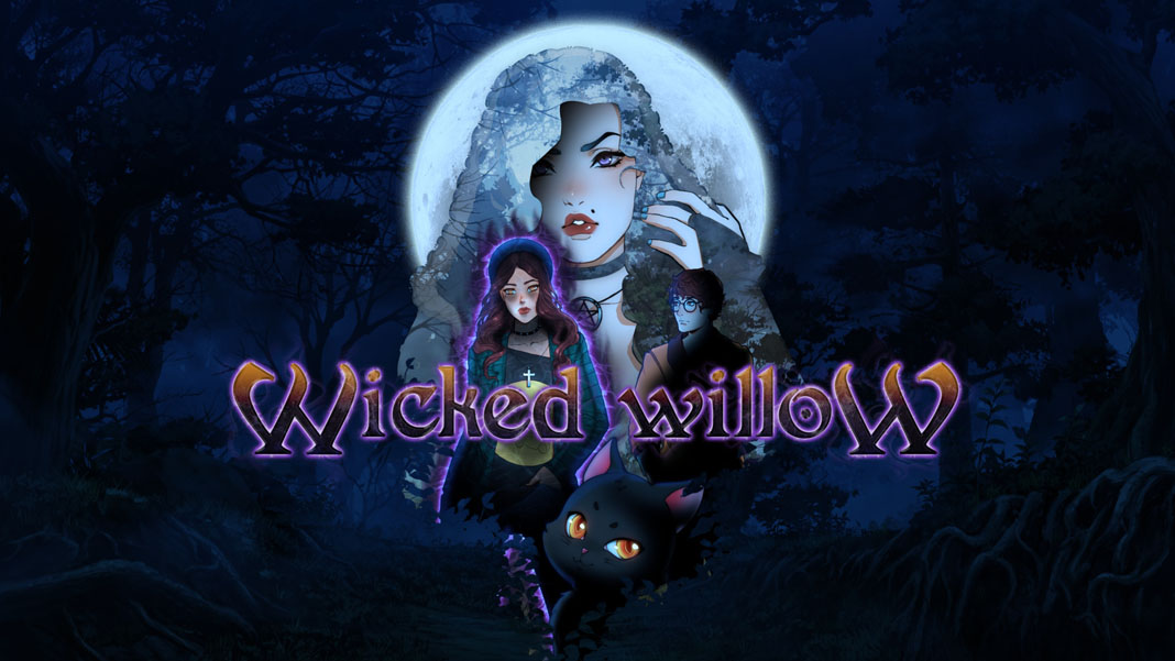 """Wicked Willow"" promo illustration. It shows two women, a man, and a black cat in a dark, moonlit forest."