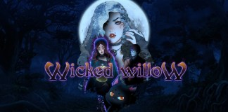 """""""Wicked Willow"""" promo illustration. It shows two women, a man, and a black cat in a dark, moonlit forest."""