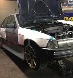 bmw e36 sedan overfenders over fenders wide body 50mm 40mm for drift track stance low cliqtuning3 [ 1500 x 1125 Pixel ]