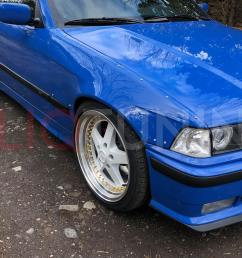 bmw e36 sedan front and rear overfenders over fenders wide body 50mm 40mm for drift track [ 1500 x 1125 Pixel ]