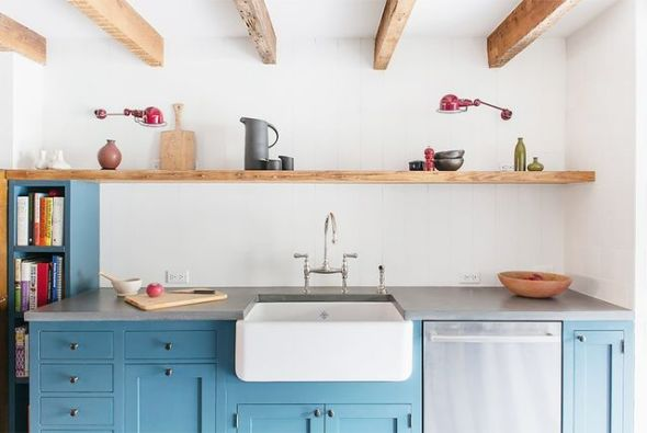 Blue lower kitchen cabinets