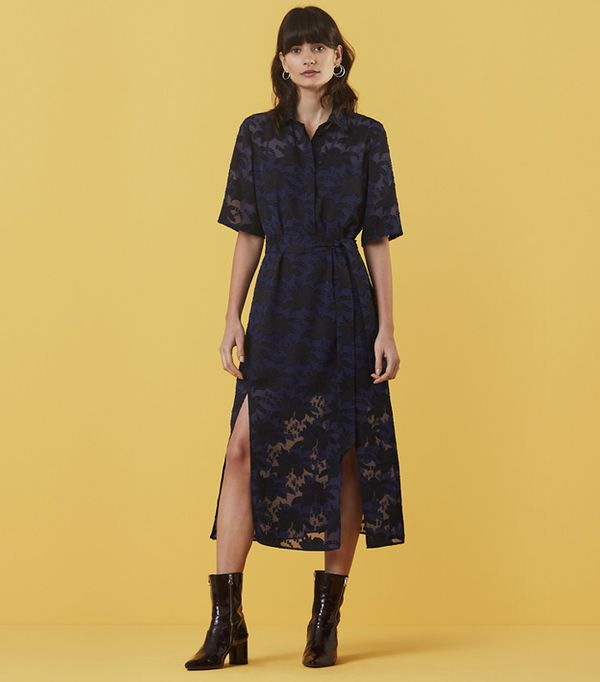 See-through dress trend: Finery Holmleigh Burnout Shirt Dress