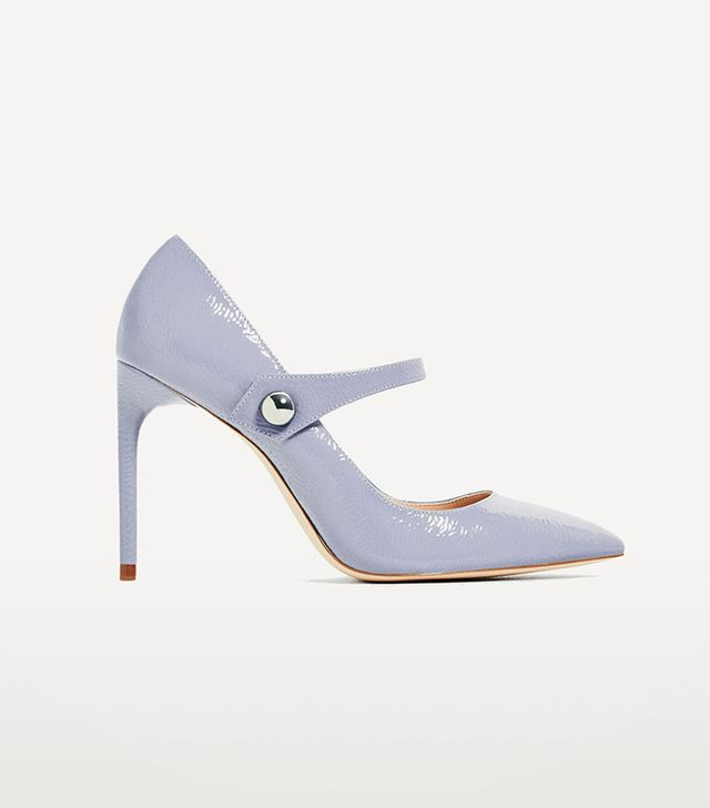 Zara Patent Finish High Heel Shoes With Strap