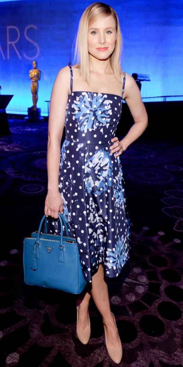 Kristen Bell39s Blue Streak WhoWhatWear