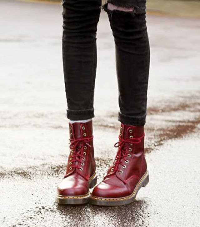 90s Fashion Revival Doc Marten Burgundy Combat Boots