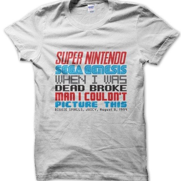 Biggie Juicy lyrics Super Nintendo Sega Genesis Notorious BIG Biggie Smalls t-shirt by Clique Wear