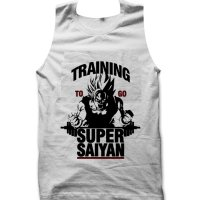 Training to go Super Saiyan Gym Dragon Ball Z tank top / vest by Clique Wear