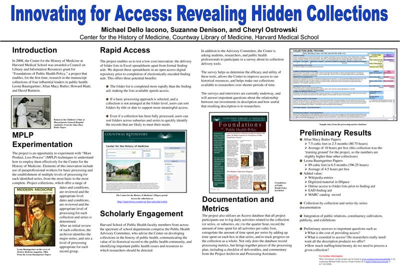 Hidden Collections Symposium Posters, March 2010 • CLIR