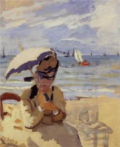 Camille Sitting on the Beach at Trouville