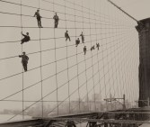 Painters on the Brooklyn Bridge Suspender Cables-October 7, 1914 - Photograph by Eugene de Salignac