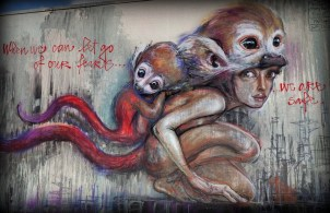 When we can let go of our fears, we are safe - Streetart by Herakut