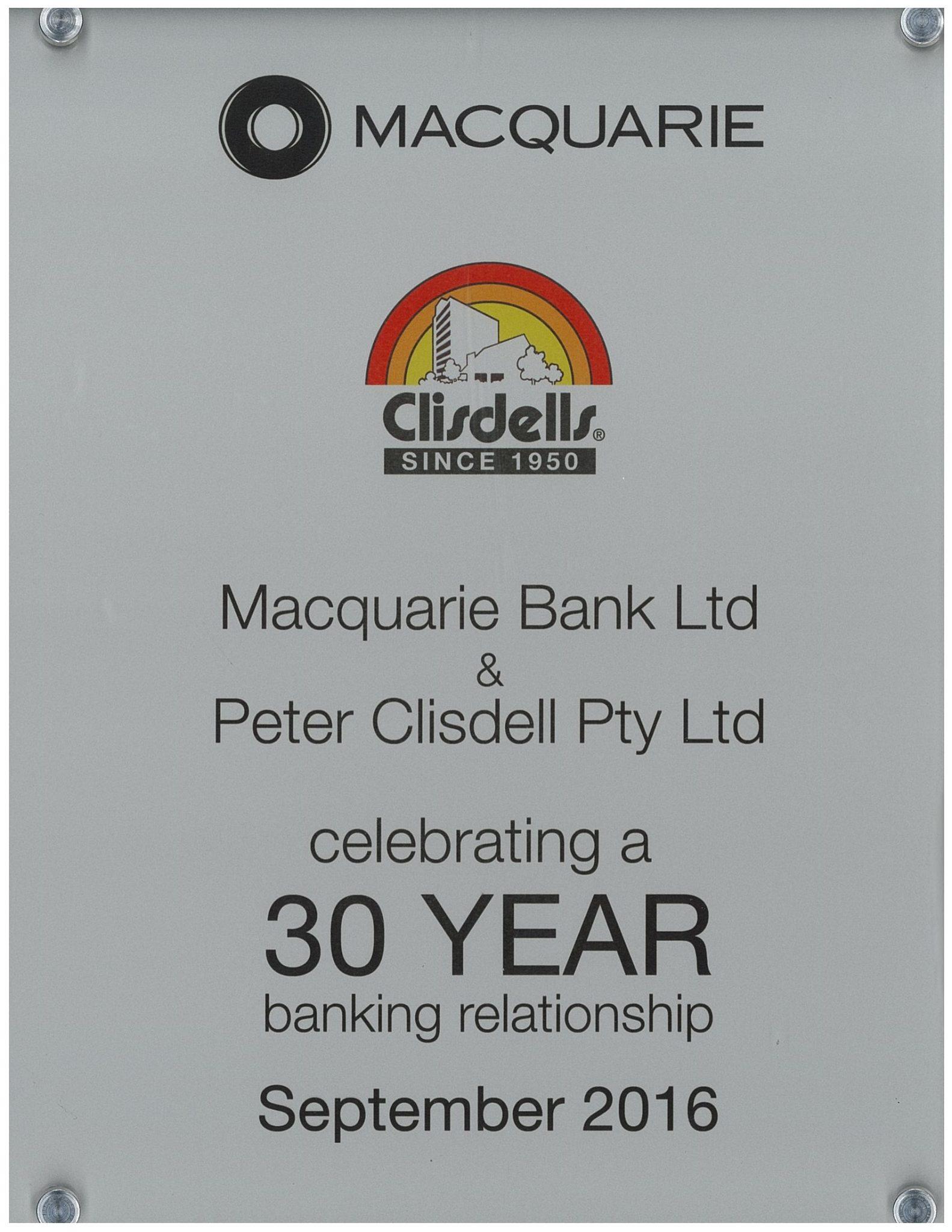 Clisdells & Macquarie Bank celebrating 30 years