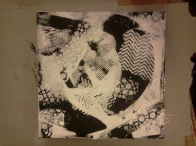Added texture through stencils with white acrylic and texture magic