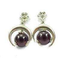 Garnet half moon white gold drop earrings | Clisson Design