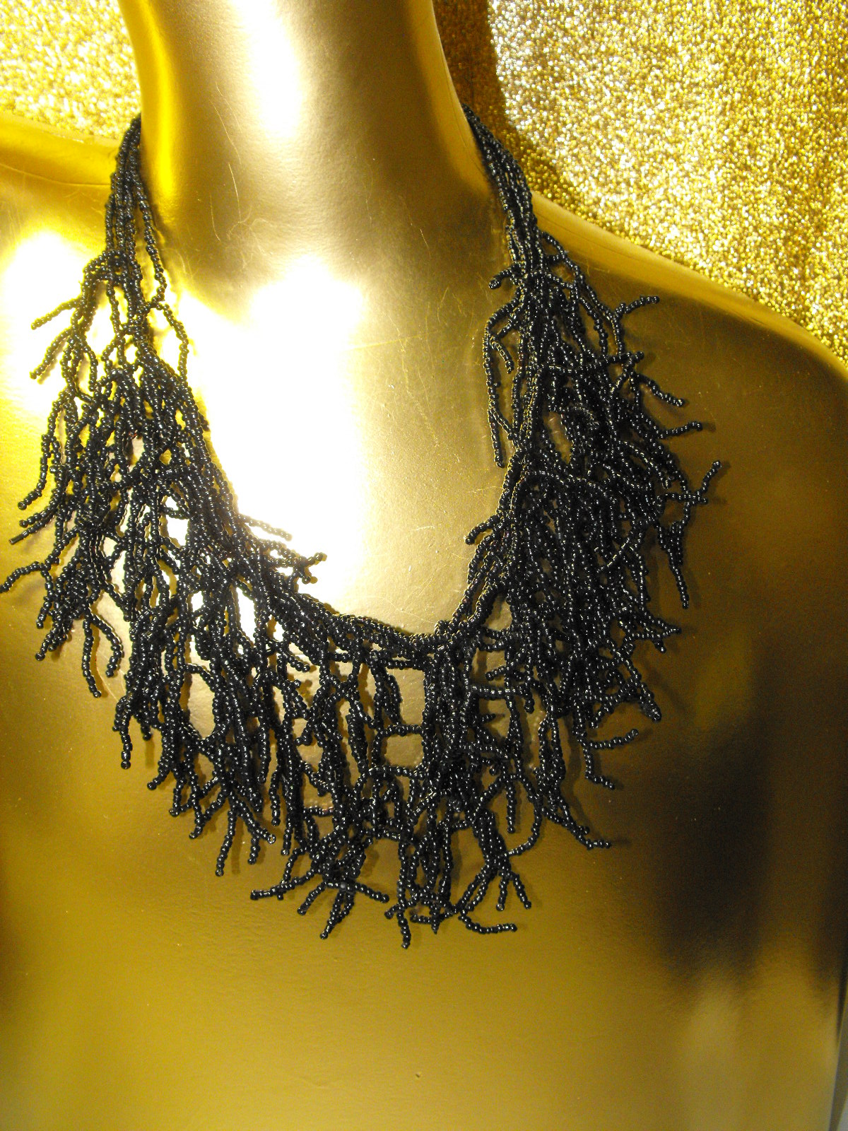 Black Coral Branch Style Glass Bead Bib Necklace  Clive
