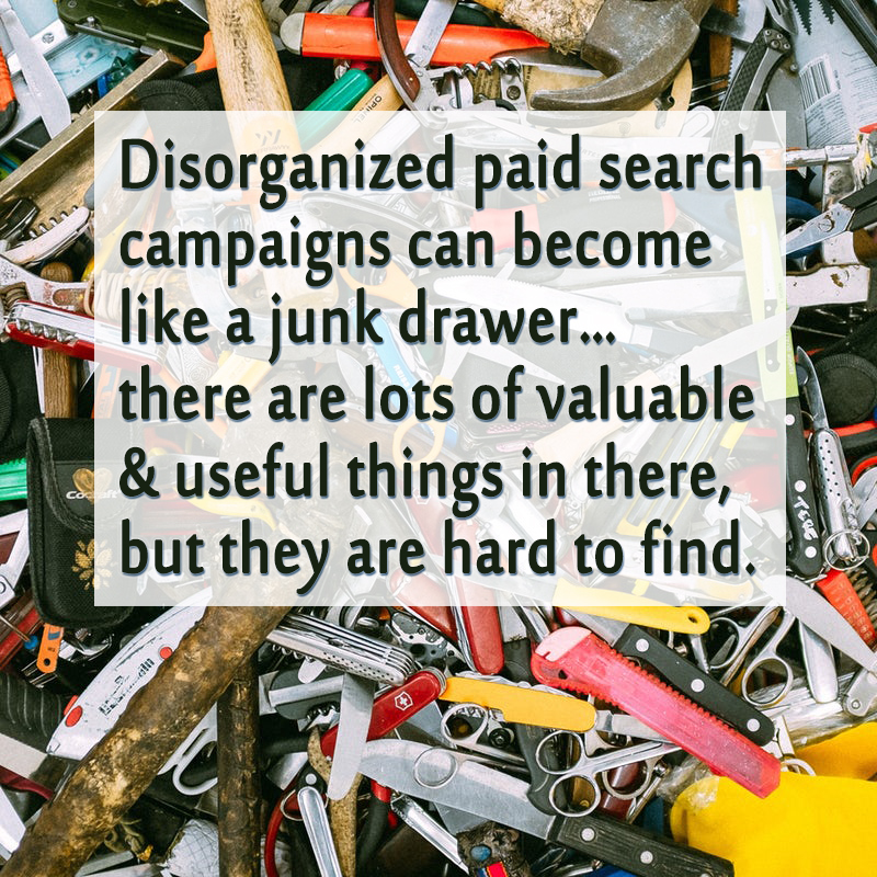 Disorganized paid search campaigns can become like a junk drawer.