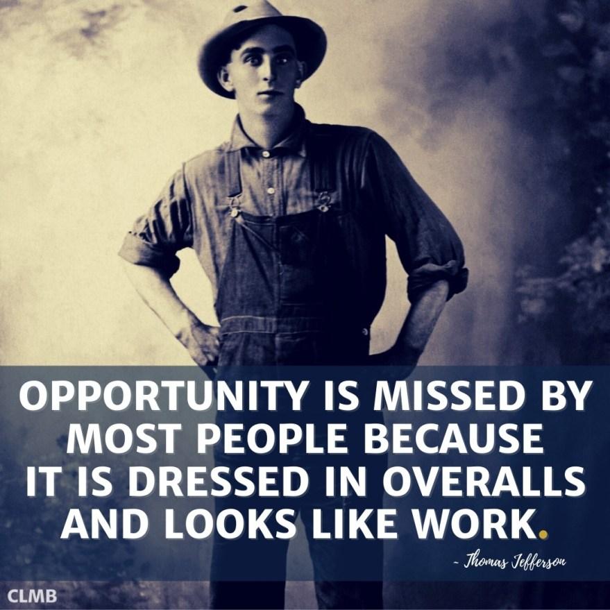 Thomas Edison Work Overalls Motivational Quote