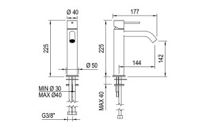 Dims: Fasson 40 mm One-lever basin mixer, 225 mm   Cloakroom Solutions