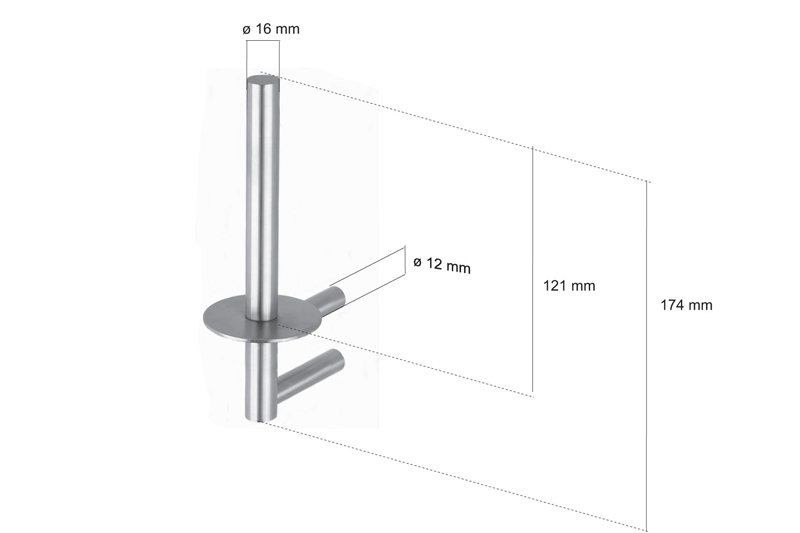 CL-219 Cool Line Spare Toilet Roll Holder Dimensions | Cloakroom Solutions