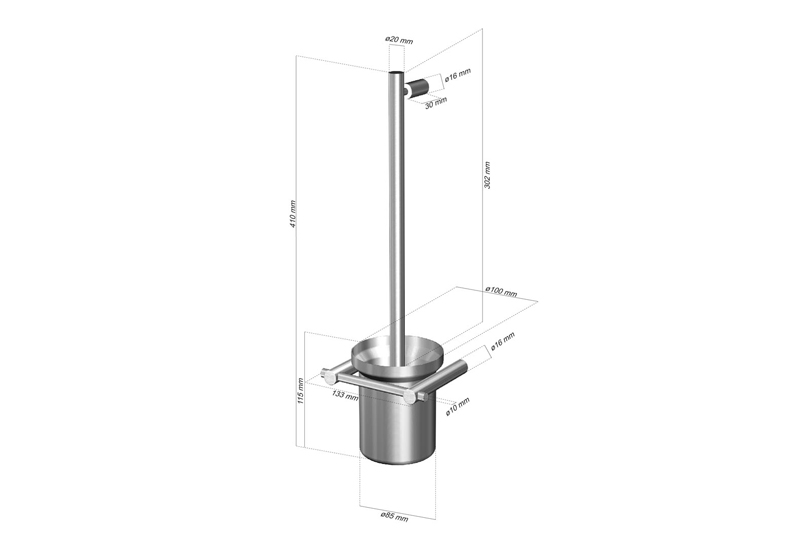 CL-232 Cool Line Toilet Brush Set Dimensions | Cloakroom Solutions