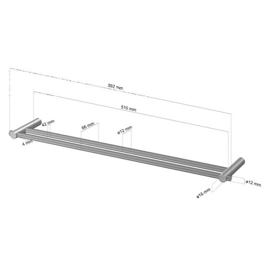 CL-224 Cool Line Double Towel Rail Dimensions | Cloakroom Solutions