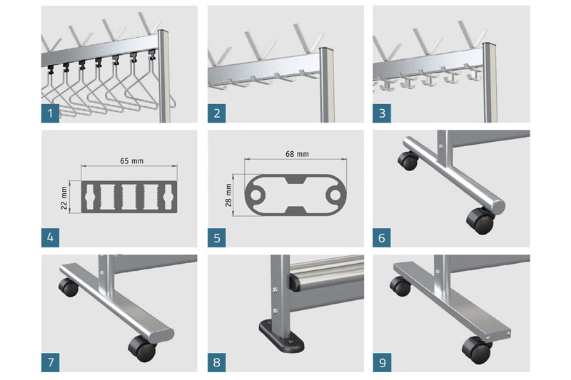 RG70x28 Mobile Coat Rack Options | Cloakroom Solutions