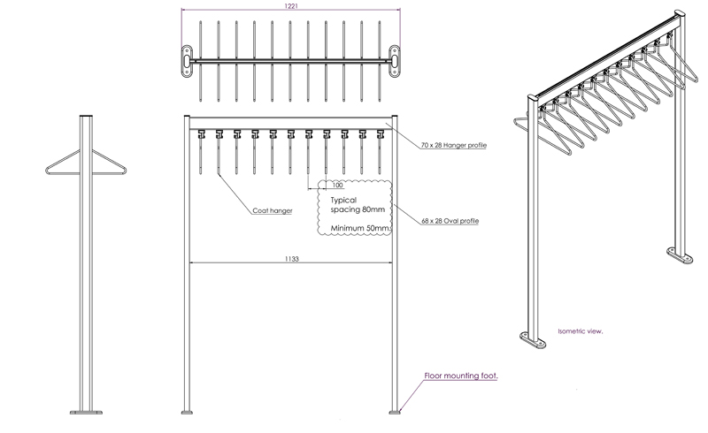 R.FS70x28.1 Free Standing Coat Rail Dimensions | Cloakroom Solutions